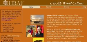 Pàgina inicial de la base de dades eHraf World Cultures