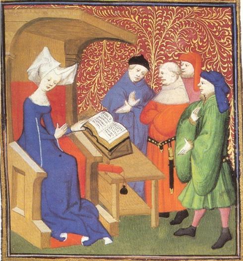 Christine de Pisan ensenyant un grup d'homes