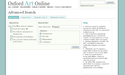 Grove Art Online. Cerca avançada