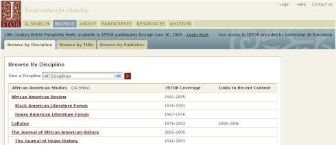 Opcions de navegació de JSTOR (per disciplina en primer pla)