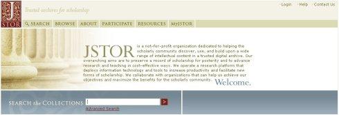 JSTOR. Detall de la pàgina incial