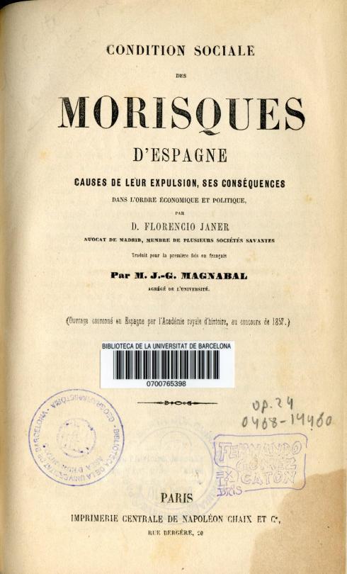 Florencio Janer. Condition sociale des morisques d'Espagne