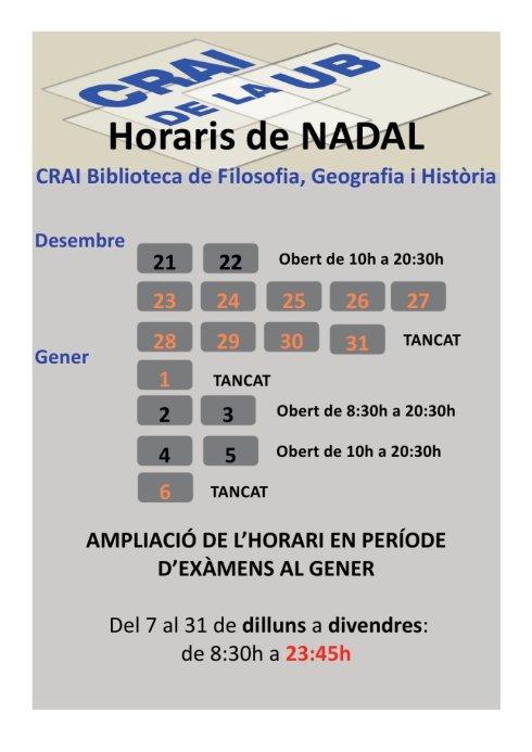 Horaris de Nadal 2013-14